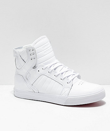 Supra Skytop White & Red Skate Shoes
