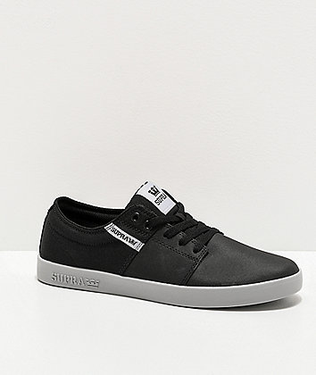 Supra Stacks II Vulc Light Grey & TUF-Black Skate Shoes