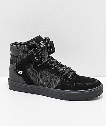 Supra Vaider Black & Charcoal Reflective Skate Shoes
