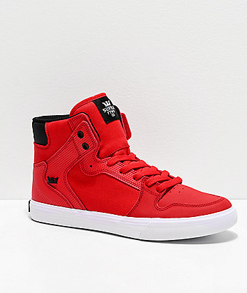 Supra Vaider Risk Red, Black & White Skate Shoes