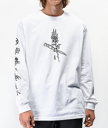 Swallows & Daggers x Ross Hell Rose White Long Sleeve T-Shirt