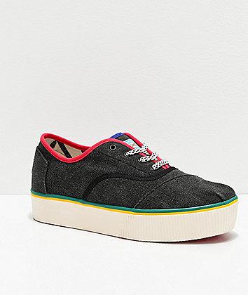TOMS Cordones Boardwalk Black & Multicolor Platform Shoes