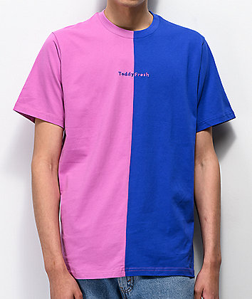 Teddy Fresh Blue & Pink Split Colorblock T-Shirt