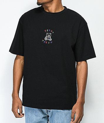 Teddy Fresh Embroidery Black T-Shirt
