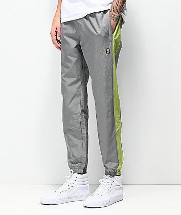 Teddy Fresh Grey & Green Nylon Track Pants