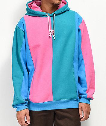 Teddy Fresh Love Blue & Pink Color Block Hoodie