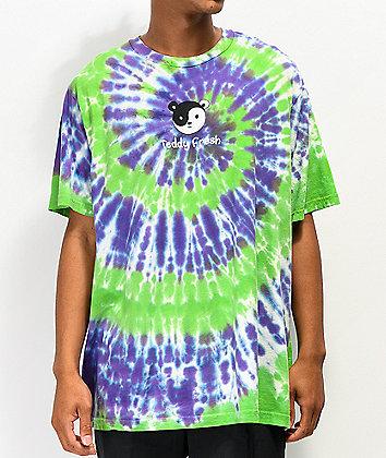 Teddy Fresh Yin Yang Ted Green & Purple Tie Dye T-Shirt
