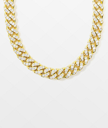 "The Gold Gods 10mm Diamond Miami Cuban 18"" Yellow Gold Chain Necklace"