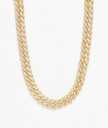 """The Gold Gods 12mm Flooded Diamond 18"""" Cuban Chain Necklace"""