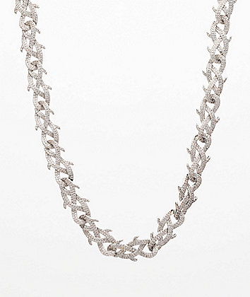 "The Gold Gods Crown Of Thorns Diamond 18"" White Gold Chain Necklace"