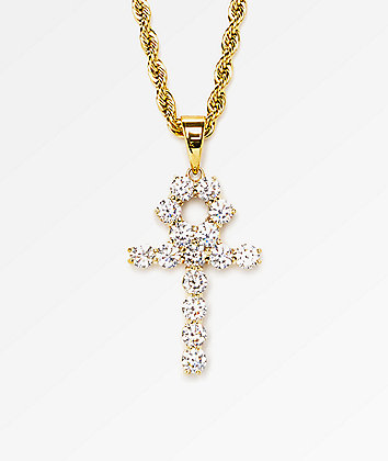"The Gold Gods Diamond Ankh Cross Pendant 22""  Necklace"