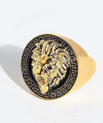The Gold Gods Lion Head Black & Gold Ring