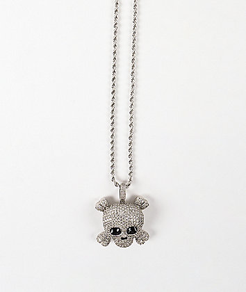 """The Gold Gods Skull 22"""" Rope Chain White Gold Necklace"""