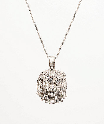 "The Gold Gods x Lil Pump Full Iced Face 22"" White Gold Necklace"