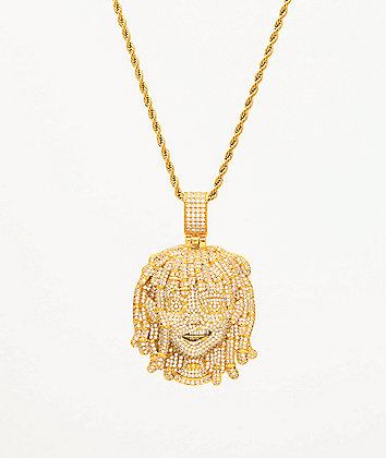 "The Gold Gods x Lil Pump Full Iced Face 22"" Yellow Gold Necklace"