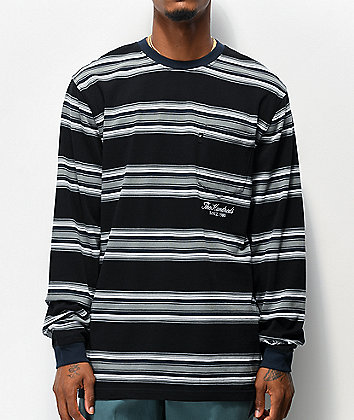 The Hundreds Norton Black & Grey Stripe Knit Long Sleeve T-Shirt