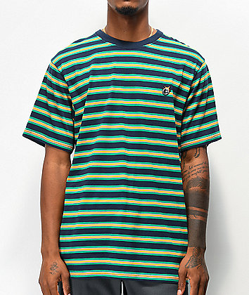 The Hundreds Page Navy & Green Stripe Knit T-Shirt