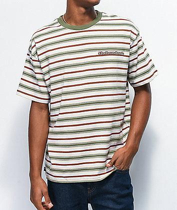 The Hundreds Rowan White, Brown & Green Stripe T-Shirt