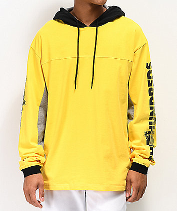 The Hundreds Slide Yellow Hooded Long Sleeve T-Shirt