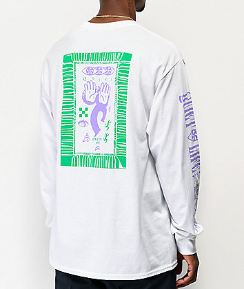 The Quiet Life Post White, Green & Purple Long Sleeve T-Shirt