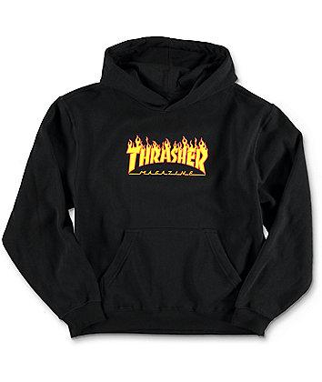 Thrasher Boys Flame Logo Black Hoodie