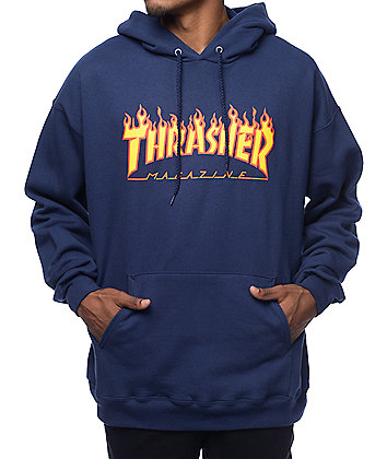 Thrasher Flame Logo Navy Pullover Hoodie