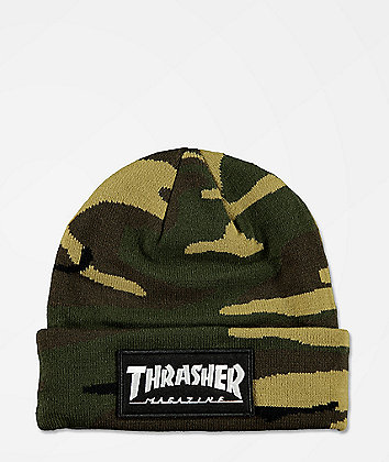Thrasher Logo Patch Camo Beanie