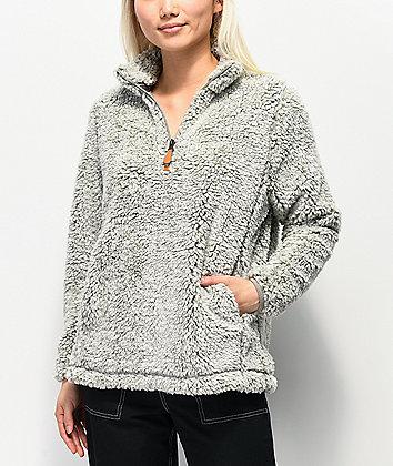 Trillium Grey Half Zip Fleece Sweatshirt