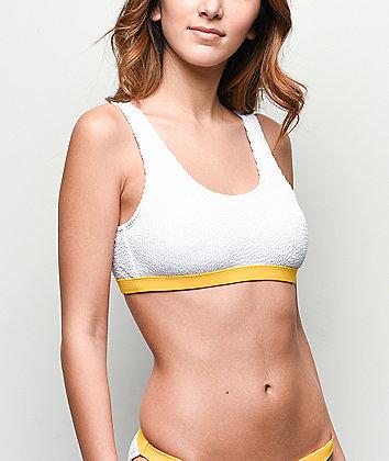 Trillium Popcorn Texture White Bralette Bikini Top