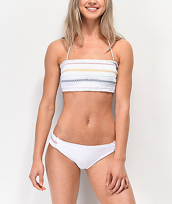 Trillium Smocked Side White Cheeky Bikini Bottom