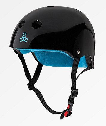 Triple Eight Certified Sweatsaver casco multideportivo negro y azul brillante