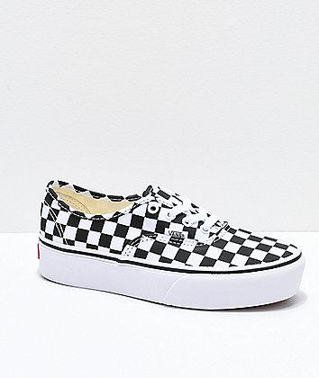 Vans Authentic Checkerboard Platform Skate Shoes