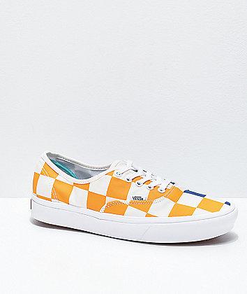 Vans Authentic ComfyCush Half Check Yellow, Blue & White Skate Shoes