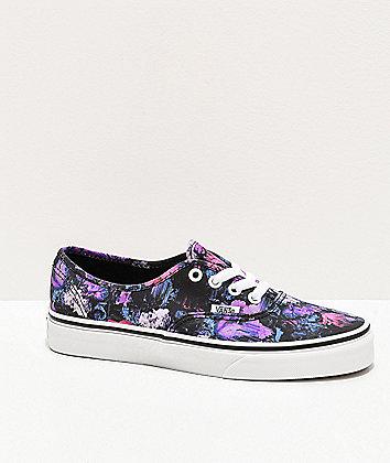 Vans Authentic Warped Floral Black & Purple Skate Shoes