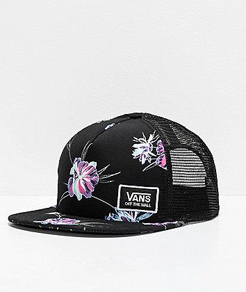 Vans Beach Bound Black & Floral Trucker Hat