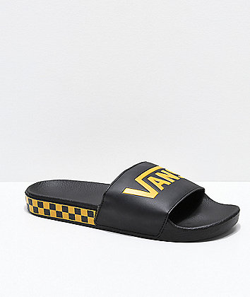 Vans Black & Sunflower Checkerboard Side Slide Sandals