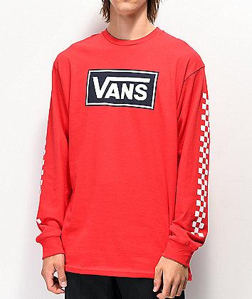 Vans Box Vee Racing Red Long Sleeve T-Shirt
