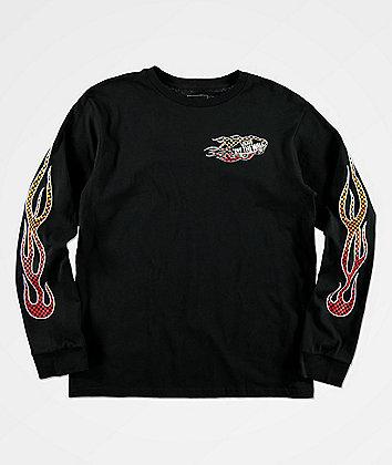 Vans Boys Burnout Black Long Sleeve T-Shirt
