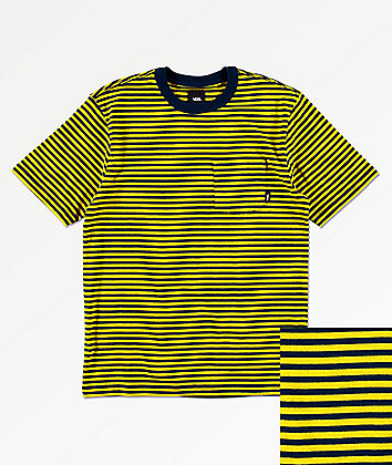 Vans Boys Glenwood Navy & Yellow Knit Pocket T-Shirt