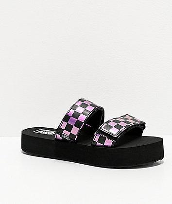 Vans Cayucas Iridescent Purple & Black Checkerboard Platform Slide Sandals