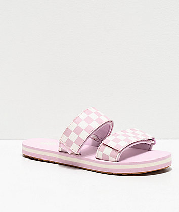 Vans Cayucas Lilac Checkerboard 2 Strap Slide Sandals