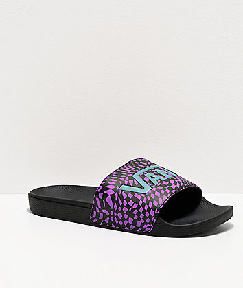 Vans Drewberry & Black Warped Checkerboard Slide Sandals