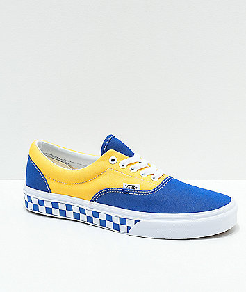 Vans Era BMX Blue, Yellow & White Checkerboard Skate Shoes