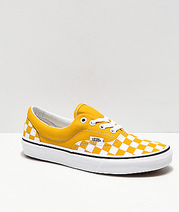 Vans Era Checkerboard Yolk Yellow Skate Shoes