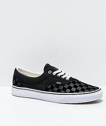 Vans Era Deboss Black & White Checkerboard Skate Shoes