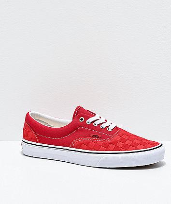 Vans Era Deboss Pomp Red Checkerboard Skate Shoes