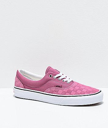 Vans Era Deboss Rose & White Checkerboard Skate Shoes