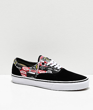 Vans Era Label Mix Black & White Skate Shoes
