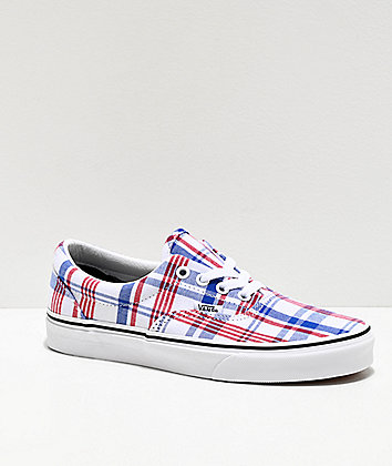 Vans Era Plaid Blue, Red & True White Skate Shoes