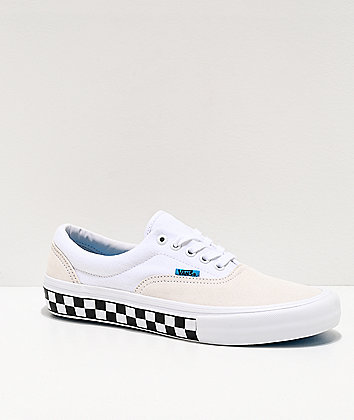Vans Era Pro Checkerboard White & Blue Skate Shoes